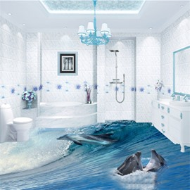 3D Sea Waves and Dolphins Pattern Waterproof Nonslip Self-Adhesive Blue Floor Art Murals