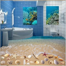 3D Seawater and Colorful Starfish Pattern Waterproof Nonslip Self-Adhesive Blue Floor Art Murals