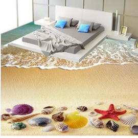 3D Pure Seawater and Colorful Sea Shell Pattern Waterproof Nonslip Self-Adhesive Floor Art Murals
