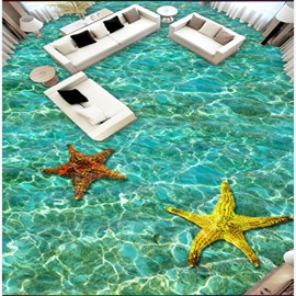 3D Pure Seawater and Starfish Pattern Waterproof Nonslip Self-Adhesive Green Floor Art Murals