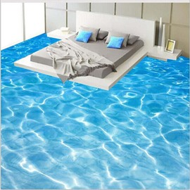 3D Pure and Clear seawater Pattern Waterproof Nonslip Self-Adhesive Blue Floor Art Murals