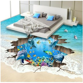3D Wooden Crack and Dolphin Pattern Waterproof Nonslip Self-Adhesive Blue Floor Art Murals