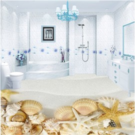 3D Starfish Seashells With Sand Pattern Waterproof Nonslip Self-Adhesive Yellow Floor Art Murals