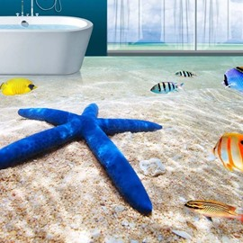 Dreamful Fish And Star Fish 3D PVC Non-slip Waterproof Eco-friendly Self-Adhesive Floor Murals