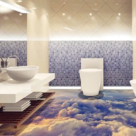 3D Sea Of Clouds PVC Non-slip Waterproof Eco-friendly Self-Adhesive Floor Murals