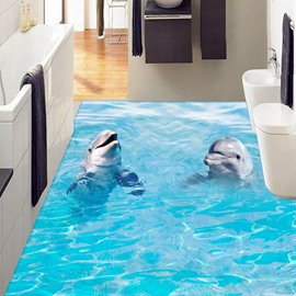 3D Vivid Dolphin PVC Non-slip Waterproof Eco-friendly Self-Adhesive Floor Murals