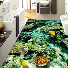 3D Colorful Fish PVC Non-slip Waterproof Eco-friendly Self-Adhesive Floor Murals