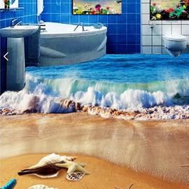 3D Beach PVC Non-slip Waterproof Eco-friendly Self-Adhesive Floor Murals