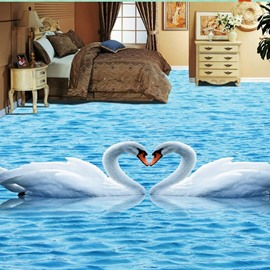 3D Swan PVC Non-slip Waterproof Eco-friendly Self-Adhesive Floor Murals