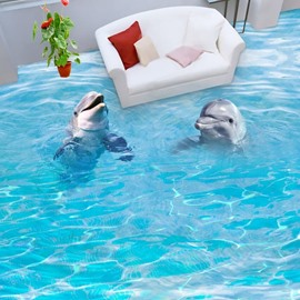 3D Sea And Dolphin Non-slip Waterproof Eco-friendly Self-Adhesive Floor Mural