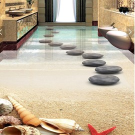 3D PVC Sea And Stone Non-slip Waterproof Eco-friendly Self-Adhesive Floor Mural