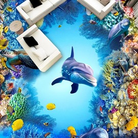 PVC 3D Creative Dolphin Non-slip Waterproof Eco-friendly Self-Adhesive Floor Murals