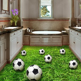 Football And Grass PVC Non-slip Waterproof Eco-friendly Self-Adhesive Floor Murals for Home/Store