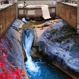 3D Dreamful Waterfall PVC Non-slip Waterproof Eco-friendly Self-Adhesive Floor Murals