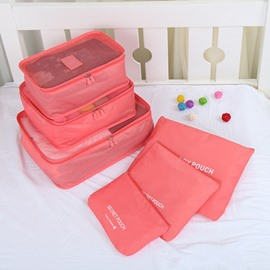 6Pcs Red Thickening Multi-Functional Waterproof Travel Storage Bags Luggage Organizers