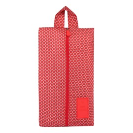 Red Stars Portable Waterproof Oxford Fabric Travel Shoe Bag with Zipper Closure