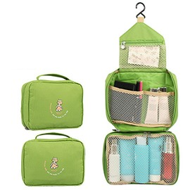 Green Waterproof Oxford Cloth Hanging Toiletry Bag Travel Mall Makeup Organizer