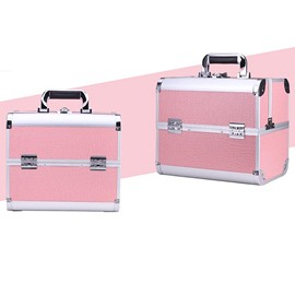Pink 3-Tier Trays PVC Cosmetic Bags With Lock