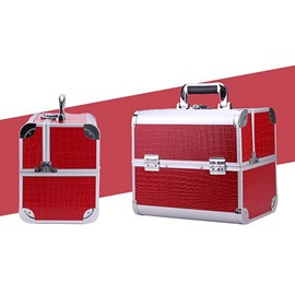 Red 3-Tier Trays PVC Cosmetic Bags With Lock