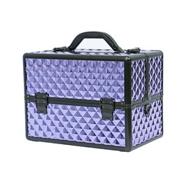 Purple Diamond Pattern Portable 3-Tier Accordion Trays Makeup Case with Shoulder Strap