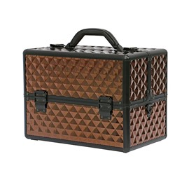 Brown Diamond Pattern Portable 3-Tier Accordion Trays Makeup Case with Shoulder Strap
