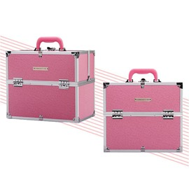 Pink PU Makeup Cosmetic Jewelry Storage Case Box