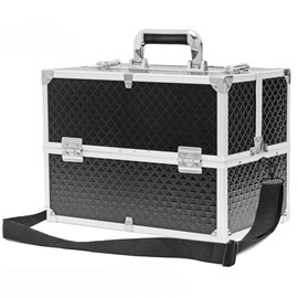 Black PU Professional Portable Cosmetic Case