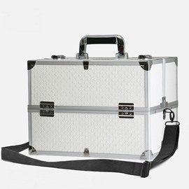 White PU Professional Portable Cosmetic Case