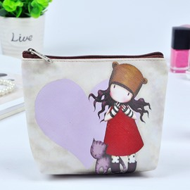 Cartoon Girl and Cat Painting Women Makeup Bag Coin Wallet Purse
