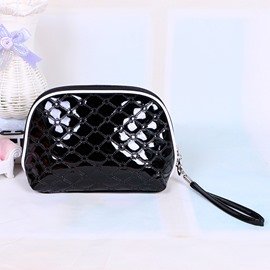 Black Patent Leather Travel Cosmetic Makeup Bag