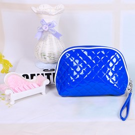 Blue Patent Leather Travel Cosmetic Makeup Bag