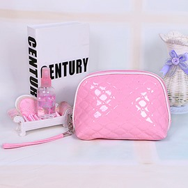 Cute Pink Patent Leather Travel Cosmetic Makeup Bag