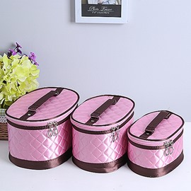 Pink Big Size 3-Pieces Travel Cosmetic Bags With Mirror