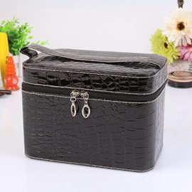 Black Single Layer PU Cosmetic Bag with Quality Zipper