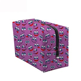 3D Portable Smiling Faces with Big Eyes Printed PV Purple Cosmetic Bag