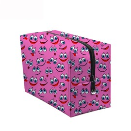 3D Portable Smiling Faces with Big Eyes Printed PV Pink Cosmetic Bag