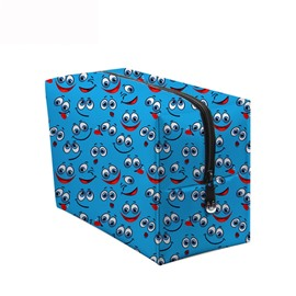 3D Portable Smiling Faces with Big Eyes Printed PV Blue Cosmetic Bag