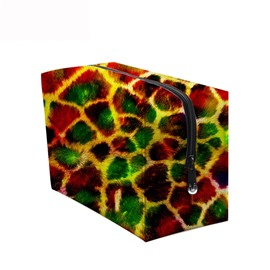 3D Portable Bright Colorful Leopard Printed PV Cosmetic Bag