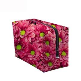 3D Portable Pink Chrysanthemums Printed PV Cosmetic Bag