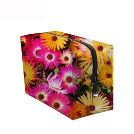 3D Portable Yellow and Pink Chrysanthemums Printed PV Cosmetic Bag