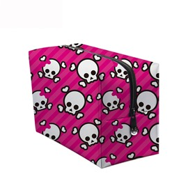 3D Portable Cute Skulls Printed PV Rose Red Cosmetic Bag