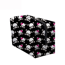 3D Portable Skulls with Pink Bowknots Printed PV Black Cosmetic Bag