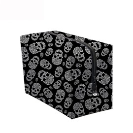 3D Portable White Skulls Printed PV Black Cosmetic Bag