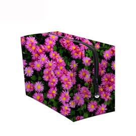 3D Portable Daisies Printed PV Rose Red Cosmetic Bag
