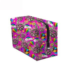 3D Portable Cats and Lollipops Printed PV Rose Red Cosmetic Bag
