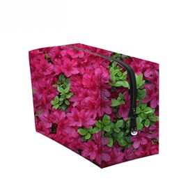 3D Portable Azaleas Printed PV Rose Red Cosmetic Bag