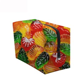3D Portable Colorful Fruits Printed PV Cosmetic Bag