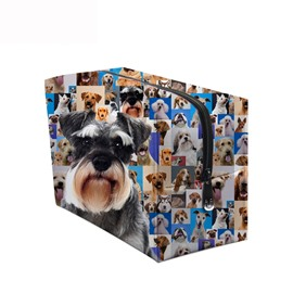 3D Portable Cute Schnauzer Printed PV Cosmetic Bag
