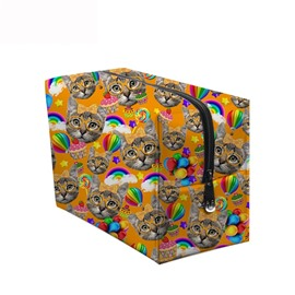 3D Portable Cats and Lollipops Printed PV Yellow Cosmetic Bag
