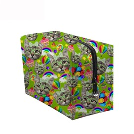 3D Portable Cats and Lollipops Printed PV Green Cosmetic Bag